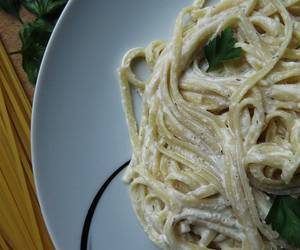 alfredo, cooking, and creamy image