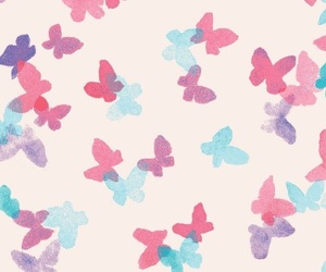 pink, butterfly, and wallpaper image