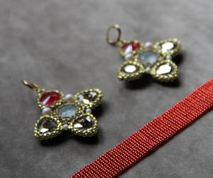 etsy, jewelry set, and red choker image