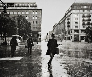 rain, city, and black and white image