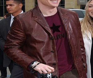 Brendan Fraser, leather coat, and men fashion image