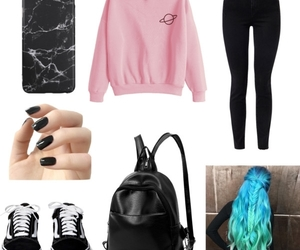 black, outfit, and pastel image