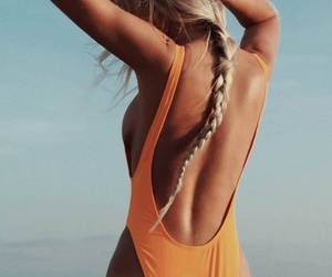 bathing suit, braid, and hair image