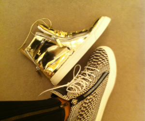 shoes, sneakers, and gold image