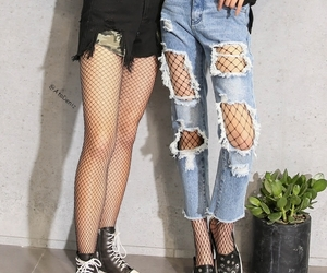 denim, outfit, and fishnet tights image