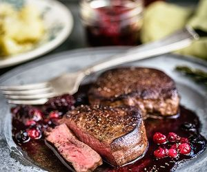 berry, port, and steak image