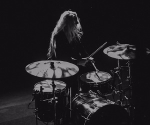 alternative, black and white, and drums image
