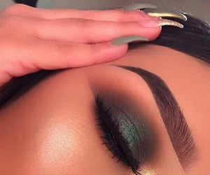 eye makeup, eyes brows, and girly beautiful image