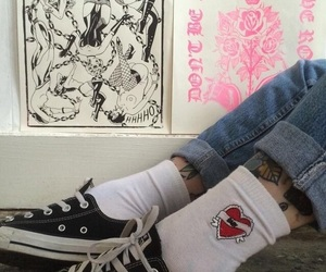 aesthetic, shoes, and tattoo image