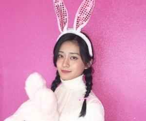 girl, pink, and rabbit image