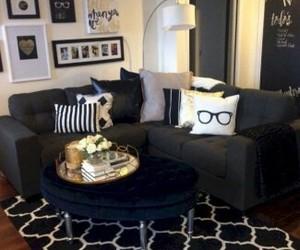 black, living room, and white image