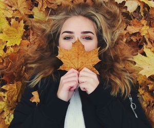 autumn, girl, and 🍂 image