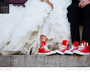 converse, red, and wedding image
