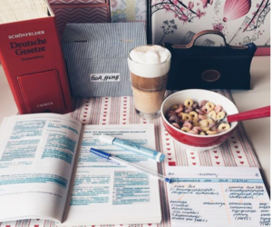 coffee, desk, and studying image