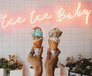 food, ice cream, and neon image