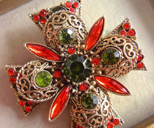 brooch, green, and orange image