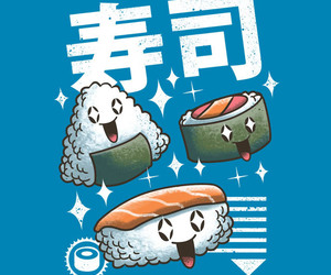 comida, ilustracion, and sushi image