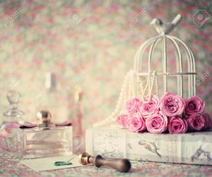 bird cage, perfume, and vintage image