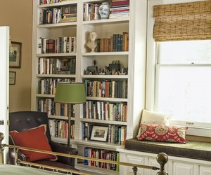 bedroom, home decor, and window seat image