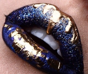 lips, gold, and lipstick image