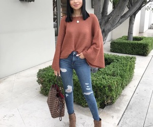 beauty, brown boots, and denim jeans image