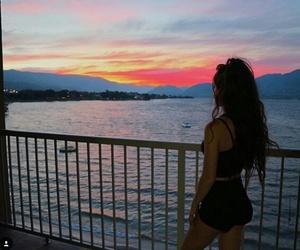 beautiful, girl, and sunset image