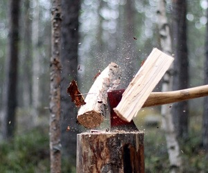 axe and wood image