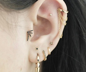hair, piercing, and ear image