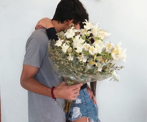 couple, tumblr, and flowers image