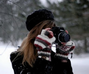 camera, girl, and gloves image