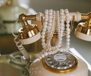 vintage, pearls, and phone image