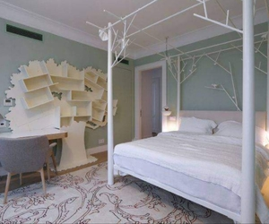 bed, bedroom, and home design image