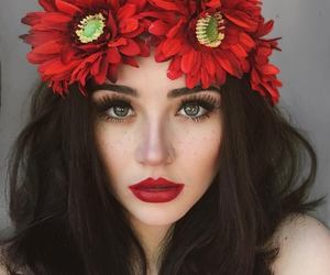 beauty, girl, and red image