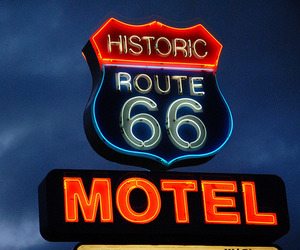 motel, neon signs, and numbers image