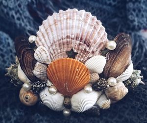 crown, mermaid, and seashells image