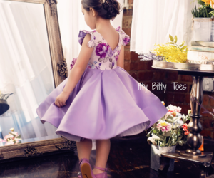 baby, dress, and flowers image