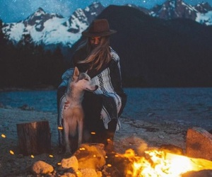campfire, camping, and snow image