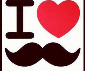 mustache, heart, and moustache image