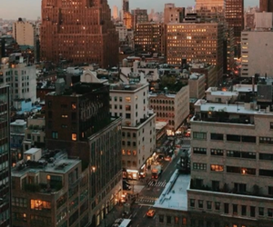 city, cityscape, and sunrise image