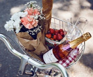 flowers, strawberry, and wine image