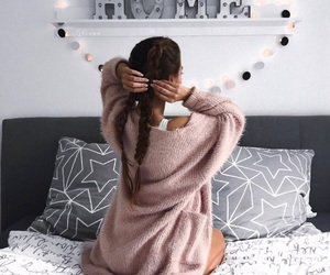 girl, home, and bed image