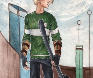 harry potter, draco malfoy, and quidditch image