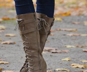 brown boots, fashion shoes, and shoes image