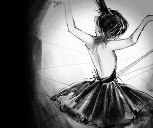 ballet, anime, and black and white image