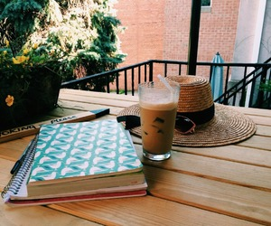 drinks, study places, and books image