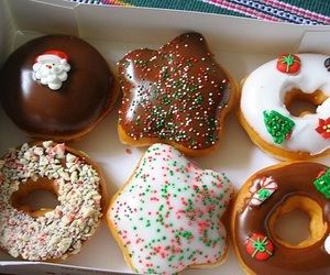 christmas, donuts, and food image