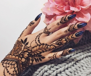 art, ink, and blue nail polish image