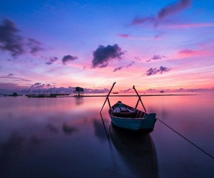 boat, pink, and blue image