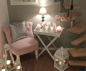 pink, room, and ديكور image