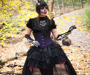autumn, corset, and goth image